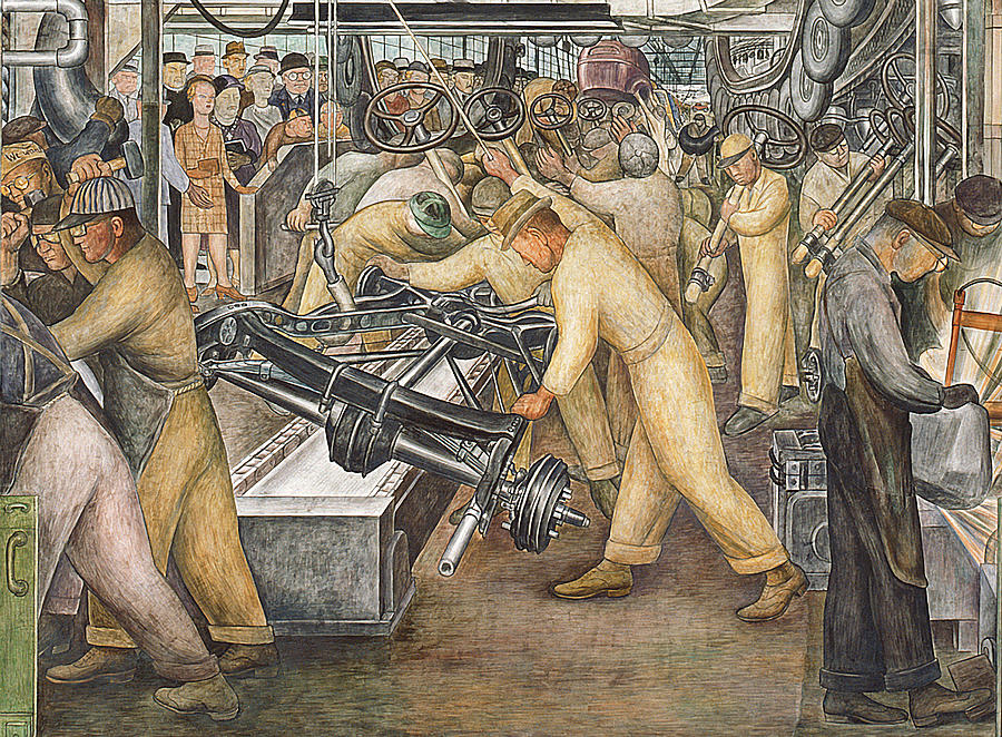 south wall of a mural depicting detroit industry diego rivera